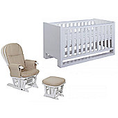 Tutti Bambini Rimini Cot Bed + Glider Chair - High Gloss White Finish
