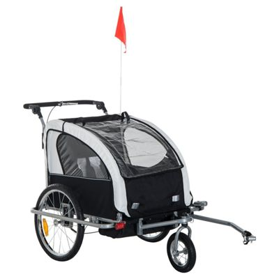 Homcom 2 in 1 Multifunctional Bicycle Child Carrier Baby Trailer Kit Steel Frame (Black and White)