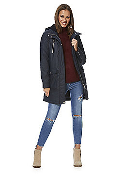 F&F Shower Resistant Borg Lined Coat - Navy