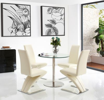 Target 2 Seater Round Glass & Stainless Steel 80 cm Dining Table with 4 Ivory Zed Chairs