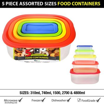 5pc Set Oval Rainbow Food Containers