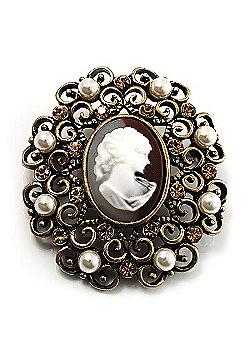 Imitation Pearl Filigree Cameo Brooch (Bronze Tone)