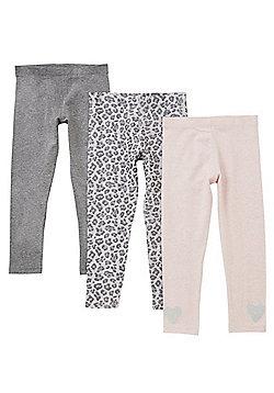 F&F 3 Pack of Plain and Leopard Print Leggings - Multi