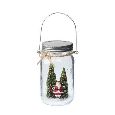 Light Up Santa Scene In Glass Jar Christmas Decoration