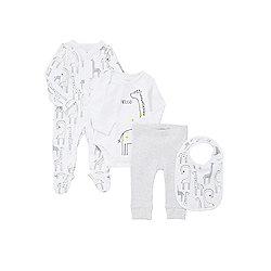 F&F 4 Piece Giraffe Print Bodysuit, Sleepsuit, Bib and Leggings Set - White