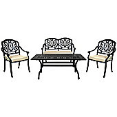 Charles Bentley Cast Aluminium Lounge Patio Set Beige Cushioned Seats - Black