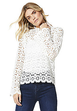 F&F Lace Floral Trumpet Sleeve Top - Ivory