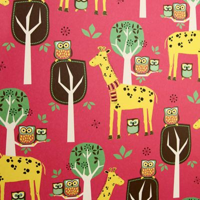 Rosehip Gift Wrap - Giraffe and Owl