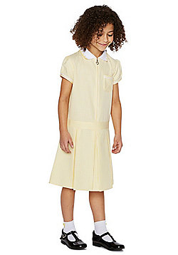 F&F School 2 Pack of Easy Care Gingham Dresses with Scrunchies - Yellow