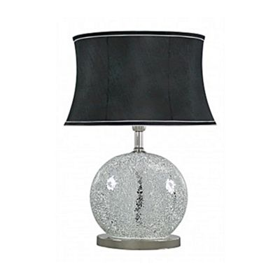 Silver Sparkle Mosaic Oval Table Lamp with Black Shade