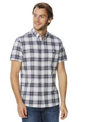 F&F Plaid Check Linen-Blend Short Sleeve Shirt Grey 3XL