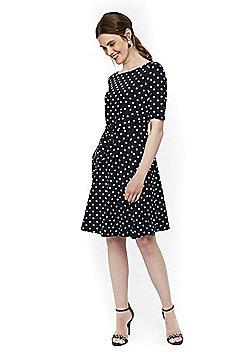 Wallis Polka Dot Tie Front Dress - Navy
