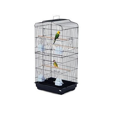 PawHut Large Metal Bird Cage for Parrot Parakeet Macaw Pet Supply Black 47.5L x 36W x 91H (cm)