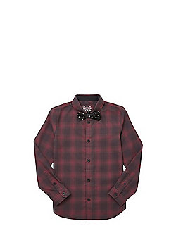 F&F Buffalo Check Shirt with Skull Print Bowtie - Red