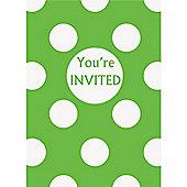 Green Polka Dot Invites - Party Invitation Cards