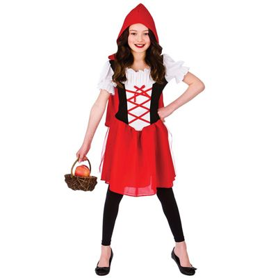 Little Red Riding Hood Childrens Fancy Dress Costume Dress with Hooded Cape-Small 3-4 Years