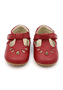 Formal Red Leather T-Bar Baby Shoes by Dotty Fish - Red