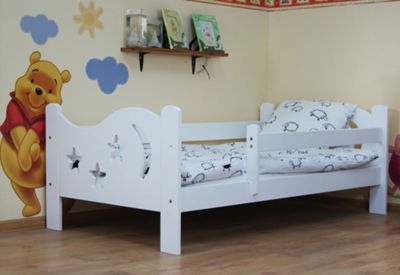 Camila Moon & Stars Toddler Bed White & Deluxe Sprung Mattress