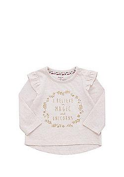 F&F Frill Sleeve Glitter Slogan Long Sleeve T-Shirt - Pink