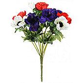 Artificial - Anemone Bush - Purple, White, Red