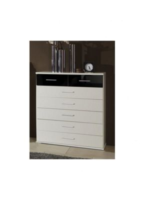 Amos Mann furniture Milano 7 Drawer Chest of Drawers - Black and White