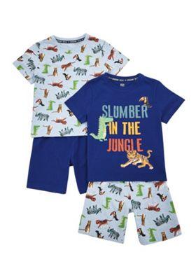 F&F 2 Pack of Jungle Pyjama Sets Navy/Multi 2-3 years