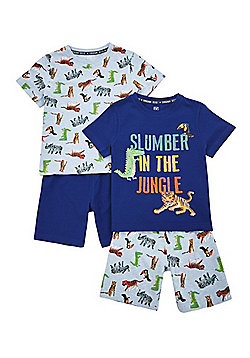 F&F 2 Pack of Jungle Pyjama Sets - Navy/Multi