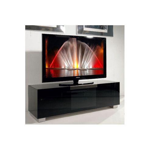 Triskom Stainless Steel / Glass TV Stand for LCD / Plasmas - Black Glass