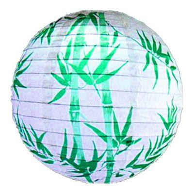 Loxton Lighting Irregular Bamboo Paper Lantern in White/Brown - White/Green