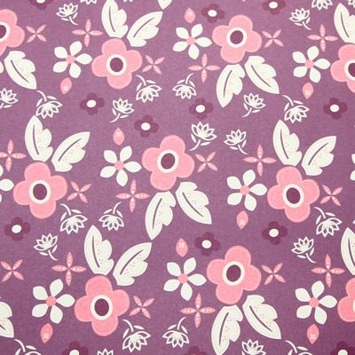 Rosehip Gift Wrap - Purple Flowers