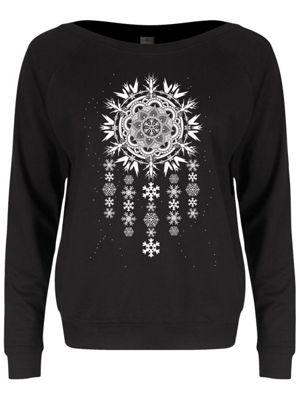 Unorthodox Arctic Mandala Dreamcatcher Ladies Black Slounge Sweater