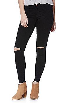 Jacqueline De Yong Ripped Knee Skinny Jeans - Black