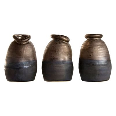 Set of 3 Distorted Bronze Ceramic Small 12cm Lipped Vases