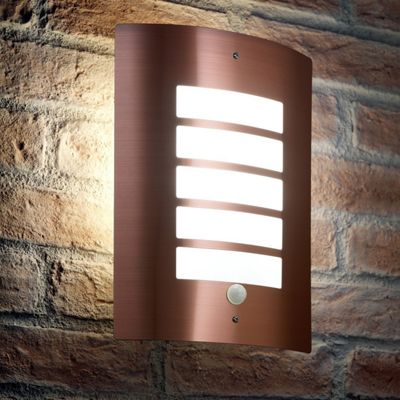 Auraglow Stainless Steel Energy Saving Motion Activated PIR Sensor Outdoor Security Wall Light - Copper Finish - Cool White
