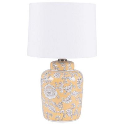 Striking Mustard & Grey Floral Ceramic Table Lamp with Cream Shade