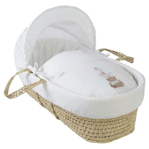 Clair de Lune Tippy Tumble Palm Moses Basket - White