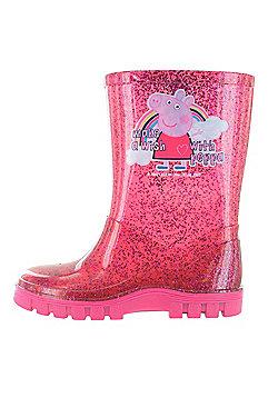 Peppa Pig Glitter Pink Make A Wish Wellington Boots UK Sizes 4 -10 - Fuchsia