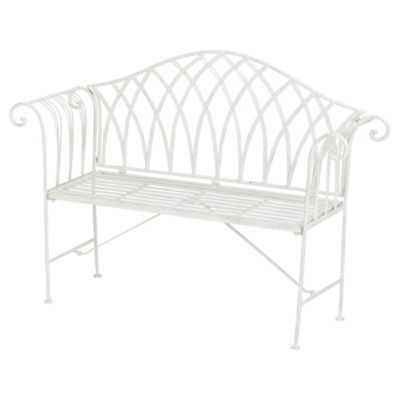 Polyanna Ornate Garden Bench, White