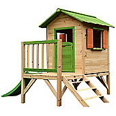 Chestnut Pre-painted Wooden Tower Playhouse with Slide, 7ft x 6ft