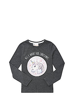 Emoji All I Want For Christmas Two-Way Sequin T-Shirt - Grey