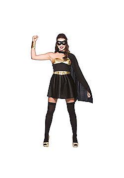 Wicked Women's Fancy Dress Black & Gold Hot Super Hero Costume - Black