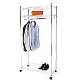 Pristine Heavy Duty Chrome Clothing Rail with Shelves