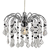 Crystal Effect Pendant Shade with Transparent and Black Acrylic Crystals