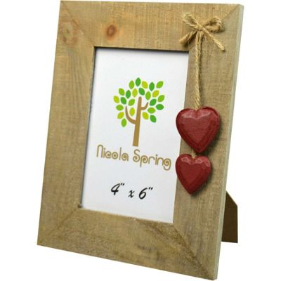 Nicola Spring Driftwood Photo Picture Frame With Red Hearts - 4 x 6