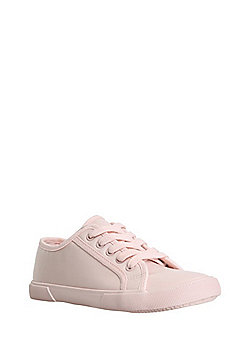 F&F Coated Canvas Lace-Up Trainers - Pink