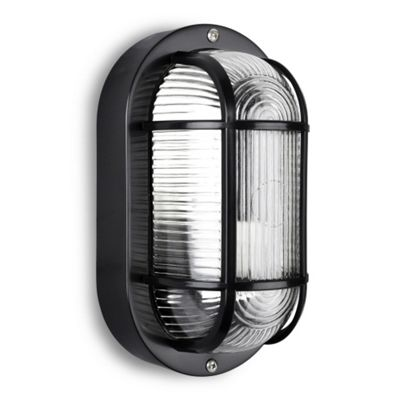 Carnforth IP44 Oval LED Bulkhead Light in Black