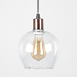 Designer Style Suspended Ceiling Light With Glass Bell Shade Copper
