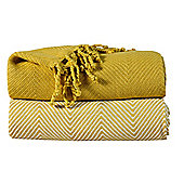 EHC Pack Of 2 Cotton Chevron Throw, Yellow
