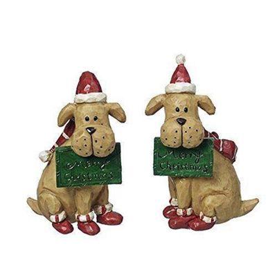 Sitting Festive Merry Christmas Dog Ornament Set