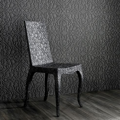 Designer Marcel Wanders Carved Wood Effect Heart and Tulip Mahogany Wallpaper